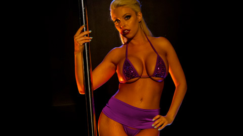Britney is a lascivious stripper who satisfies herself on the pole.